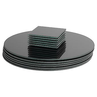 12 Piece Glass Placemats and Coasters Set - Black