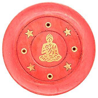 Decorative Round Buddha Wooden Red Incense Burner Ash Catcher X 1 Pack
