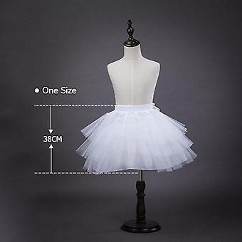 3-10 Years White Ballet Skirt Tulle Ruffle Short Crinoline Bridal Wedding