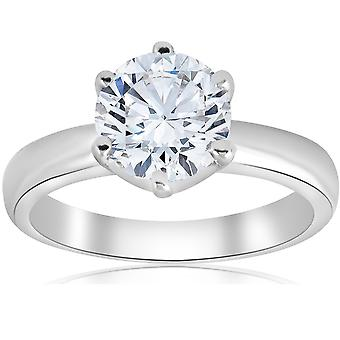 1 1/2ct Round Diamond Solitaire Engagement Ring 6-Prong 14k White Gold
