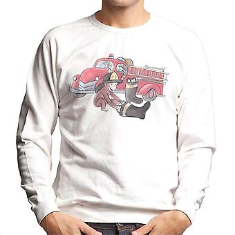 Curieux George Balloon Fire Department Truck Men-apos;s Sweatshirt