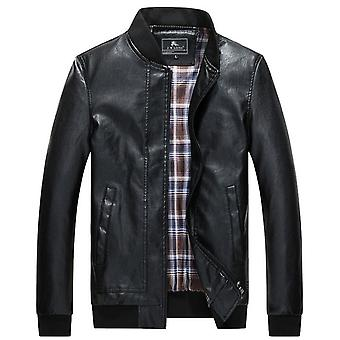 Autumn And Winter Men's Slim Casual Leather Jacket High-end Warm Baseball Collar Leather Jacket