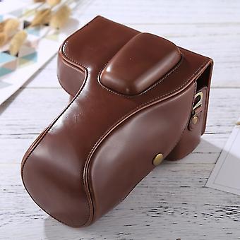 Full Body Camera PU Leather Case Bag voor Nikon D3200 / D3300 / D3400 (18-55mm / 18-105mm Lens)(Koffie)