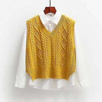 Vest Femei Solid Scurt Loose Trendy Coreeană Stil Sleeveless Tricotate V-gât