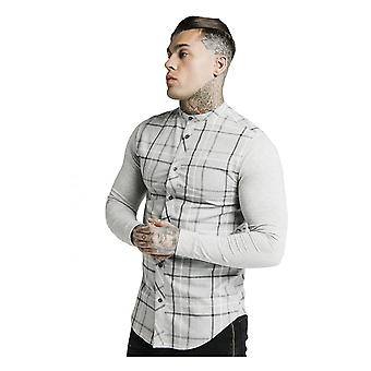 Sik Silk Men's Long Sleeve Flannel Check Grandad Collar Shirt Grey Marl