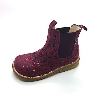 ANGULUS Bordeaux Dot Chelsea Boot With Heart Detail