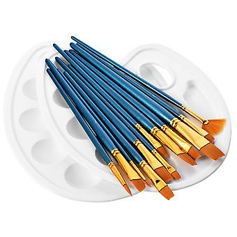 Atmoko 14 pieces paint brushes, artist paint brushes set include 2 palettes for watercolor, acrylic