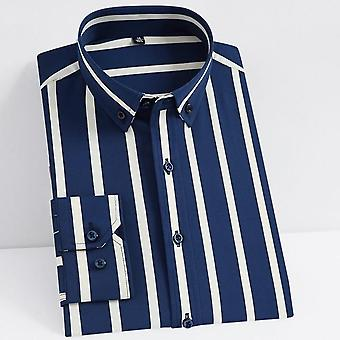 Men's Classic Non-iron Stretch Striped Basic Dress Shirt