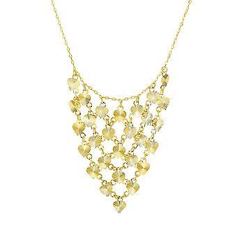 "14k Yellow Gold Diamond Cut Heart Drop Charm Necklace, 17"""