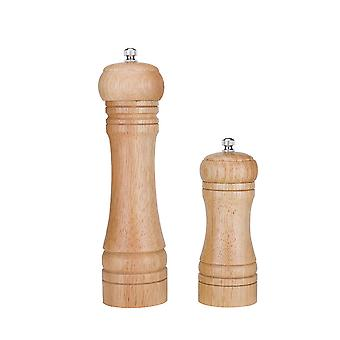 Set Of 2 Adjustable Wooden Salt And Pepper Grinder With 1pcs Cleaning Brush