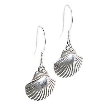 Scallop Shell Sterling Silver Earrings .925 X 1 Pair Drops Shells - 8280