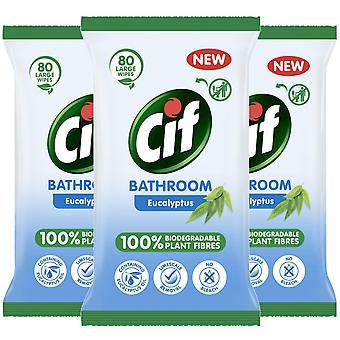 3 pk Cif Bathroom Eucalyptus, Biodegradable Plant Fibres Wipes, 80 Large Sheets