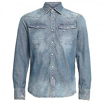 G-Star Raw 3301 Slim Faded Blue Denim Shirt D18969