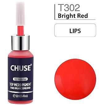 CHUSE T302 Microblading Micro Pigment Permanent Makeup Tattoo Ink Cosmetic Color Bright Red Passed S