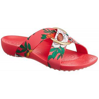 Crocs 206434 Serena Printed Crossband Ladies Sandals Floral/poppy