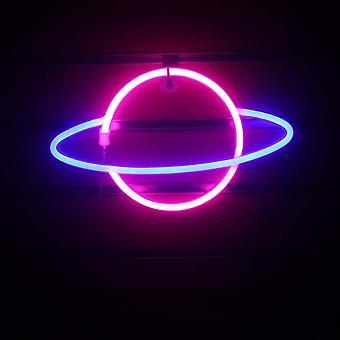 Led neon lamp elliptische planeet vormige teken decoratieve verlichting