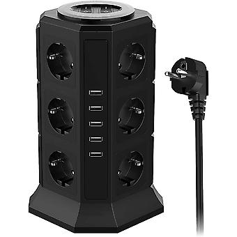 Power Strip Tower Surge Protector 12 Outlets 5 USB Ports Desktop Charging Station (2500W/10A)