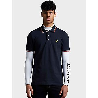 Lyle & Scott Tipped Polo Shirt - Dark Navy/Burnt Orange