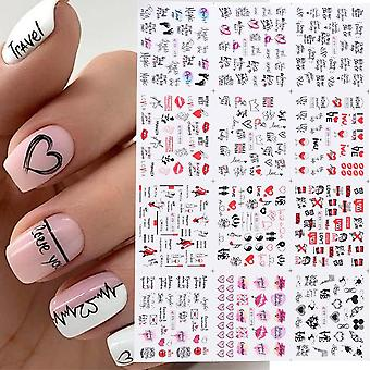 Valentines Manicure Love Letter Flower Sliders For Inscriptions Nail Art