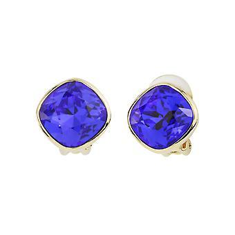 Traveller Clip earrings Gold plated Swarovski Majestic blue - 157407