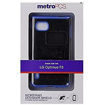 Metro Pcs Kickstand Shock Proof Case Compatible with Optimus F3 + Screen Protector - Black/Blue