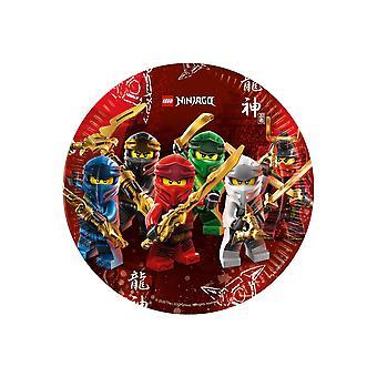 8 Assiettes en carton FSC® Lego Ninjago 23 cm