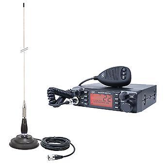 CB PNI ESCORT ESQORT HP 9001 PRO ASQ kit de station de radio réglable, AM-FM, 12V, 4W + CB PNI ML100 antenne, 26-30MHz, 250W, 100cm, aimant 125mm inclus