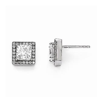 925 Sterling Silver and CZ Cubic Zirconia Simulated Diamond Brilliant Embers Square Post Earrings Measures 10x10mm Wide