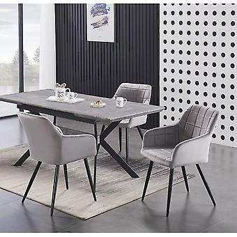 Lusso & Romeo: Table & Velvet Chairs Dining Set | Cushion Padded Chairs | Dining Room Ash/black Table | Modern Dining Table | Dining Table Set | (light Grey)