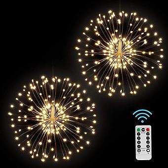 FengChun Feuerwerk LED Licht, 2 Stck 120 LED Kupferdraht Hngend Lichterkette 8 Modi Wasserdicht