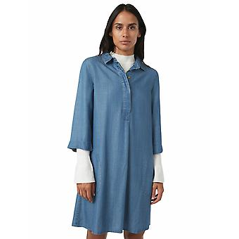 Shuuk Denim Shirt Dress with Relaxed-Fit Unique 70s-Style Rounded Front Pockets