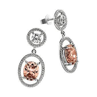 Diamonfire - Boucles d'oreilles en argent sterling 925, avec zircons Fancy Colours ligne orange 62/1578/1/133