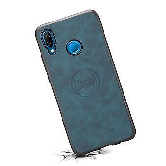 حقيبة هاتف جلدي مع حامل  لiPhoneX / XS الأزرق الرجعية