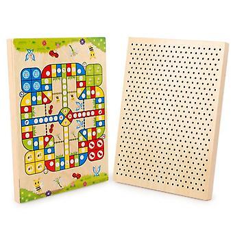 Kids Wood Chess Desktop Pelimallit Puu lelut Lentävät ja Sieni kynsi palapeli| Malli rakennussarjat