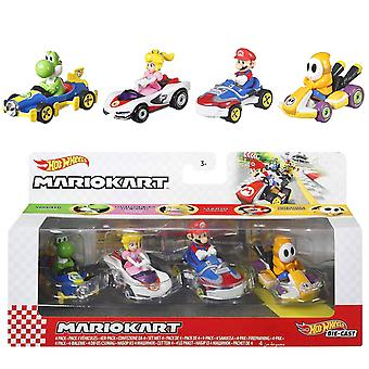 4-Pack Hot Wheels Super Mario Kart Racers 1:64 Bilar Metall