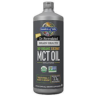 Garden of Life Dr. Muotoiltu aivojen terveys 100% orgaaninen kookos MCT öljy neste, 32 oz