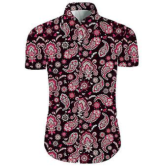 Mens 2 stuks 3d bloemen print casual button down korte mouw Hawaiiaanse shirt en shorts set in