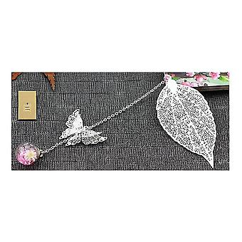 Metal Feather Bookmark,med 3d Butterfly and Glass Beads Dry Flower Pendant(Bild3)