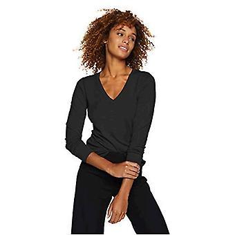 Lark & Ro Women's Long Sleeve V-Neck Sweater, Navy, Large