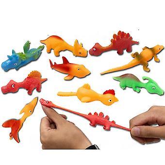 10pcs Tpr Katapult Dinosaurier Fidget Spielzeug Simulation Tiere Finger Schleuder