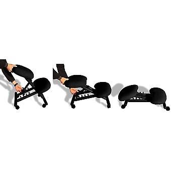 Ergonomischer Stuhl Orthopädischer Kniestuhl Computerstuhl Kniehocker Stoff Schwarz Farbe