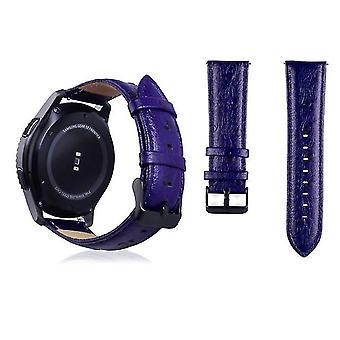 Pulsera de cuero genuino para Samsung Gear S3 22mm azul