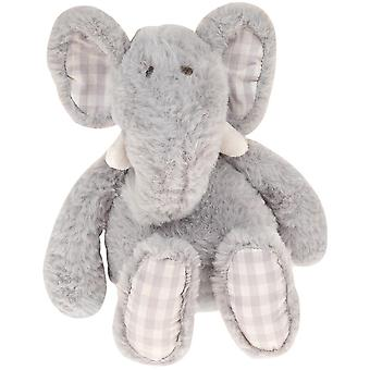 LAST FEW - Elephant Soft Toy with Gingham Check Fabric Ears and Feet - Grey - Gift Item