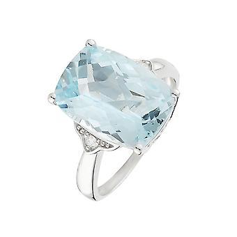 Anillo 'Blue Hill Topaz' Oro blanco y diamantes