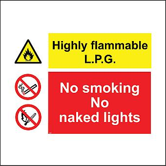 MU044 Highly Flammable L.P.G No Smoking No Naked Lights Sign with Triangle Fire Circle Lit Match Cigarette