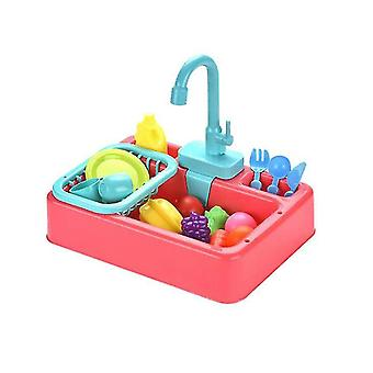 Kitchen Sink Toys, Children Heat Sensitive Electric Dishwasher Playing Toy With Running