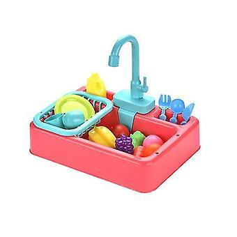 Giocattoli del lavandino della cucina, lavastoviglie elettrica sensibile al calore per bambini che giocano a giocattoli con la corsa