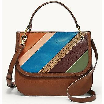 Fosília Belmont Crossbody Hnedá kožená prúžkovaná taška SHB2668195