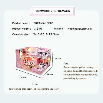 Cutebee diy dollhouse wooden doll houses miniature doll house furniture kit casa music led toys for