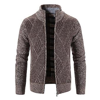 Mile Men's Casual Cable Knitted Fleece Lined Cardigan Sweater